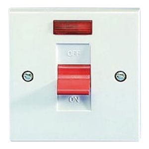 45 Amp DP Switches & Cookers - 1 gang switch & neon