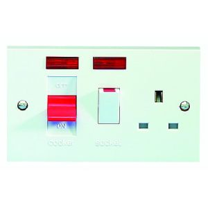 45 Amp DP Switches & Cookers - Cooker control unit with 13A socket & neon