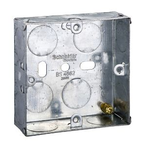 Metal Switch & Socket Boxes - 1 Gang Round KO Adj. 25mm