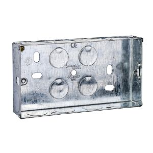 Metal Switch & Socket Boxes - 2 Gang Round KO Adj. 25mm