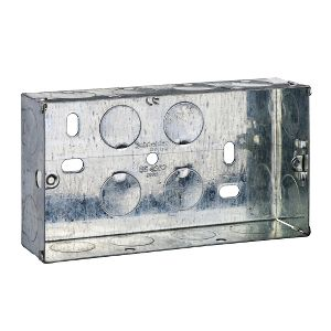 Metal Switch & Socket Boxes - 2 Gang Round KO Adj. 35mm