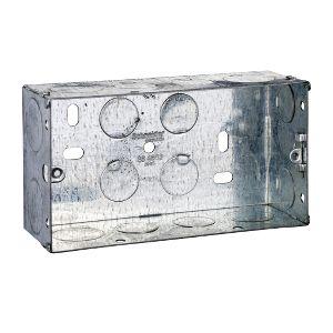 Metal Switch & Socket Boxes - 2 Gang Round KO Adj. 47mm