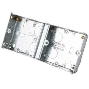 Metal Switch & Socket Boxes - Dual Round KO Fixed 25mm