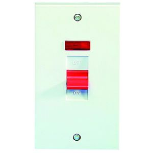 45 Amp DP Switches & Cookers - 2 gang switch & neon (vertical)