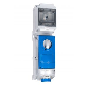 Switched Interlocked RCD Protected Sockets - 16A 230V 2P+E, c/w 25A