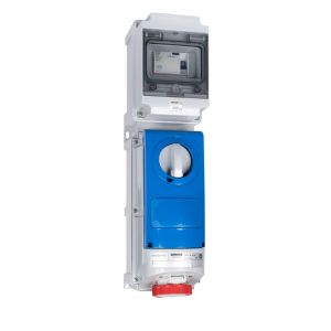 Switched Interlocked RCD Protected Sockets - 16A 415V 3P+E, c/w 25A