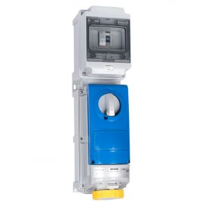 Switched Interlocked RCD Protected Sockets - 32A 110V 2P+E, c/w 40A