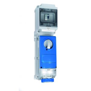 Switched Interlocked RCD Protected Sockets - 32A 230V 2P+E, c/w 40A