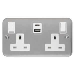 13 Amp Metalclad Socket Outlets - 2 gang switched with type A & C USB outlets