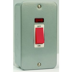 45 Amp DP Switch - 2 gang switch & neon (vertical)