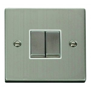 2 gang 2 way 10AX ingot switch - white inserts