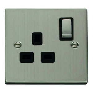 1 gang 13A DP switched socket outlet - black inserts