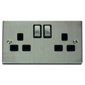 2 gang 13A DP switched socket outlet - black inserts