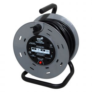 4 socket heavy duty steel frame cable reel with thermal cut out - 25m
