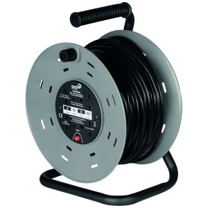 4 socket heavy duty steel frame cable reel with thermal cut out - 50m