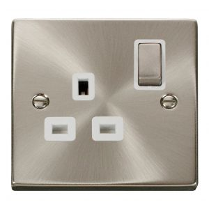 1 gang 13A DP switched socket outlet - white inserts