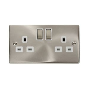 2 gang 13A DP switched socket outlet - white inserts