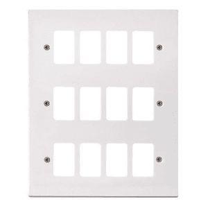 White Moulded Flush Square Edge Cover Plates - 12 gang