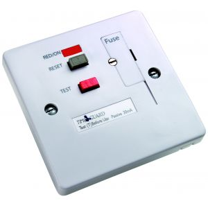 RCD White Fused Connection Unit Socket - Latching 1 gang