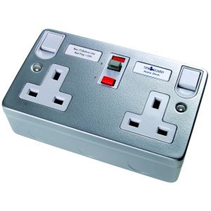 RCD Latching Sockets - RCD socket 2 gang 30mA 13A - metal