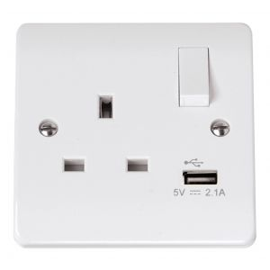 13 Amp Socket Outlets - 1 gang switched + USB