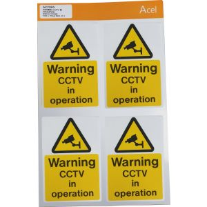 Self Adhesive to Face - Warning CCTV in operation 75 x 110mm Pk4