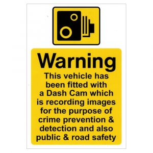 Self Adhesive Vinyl labels - Van/Lorry dash cam warning notice - 150 x 225mm Pk1