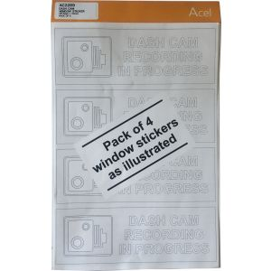 Self Adhesive to Face - Dash cam window sticker 147.5 x 50mm Pk4