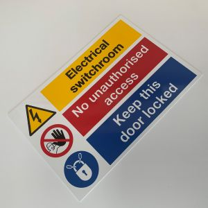 Rigid Self Adhesive PVC Labels - Electrical Switchroom Sign - 150 x 225mm Pk1