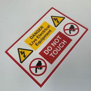 Rigid Self Adhesive PVC Labels - Live Electrical Equipment Sign - 150 x 225mm Pk1