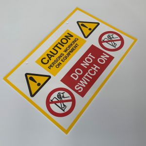 Rigid Self Adhesive PVC Labels - Caution Persons Working Sign - 150 x 225mm Pk1
