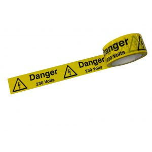 Danger 230V -  laminated tape 48mm x 33m roll