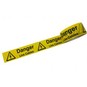 Laminated Tape - Danger Live Cables - 48mm x 33mtr Roll
