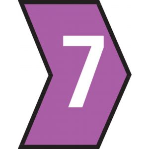 Cable Markers - 2.5-5.0mm Marked 7 Black on Violet