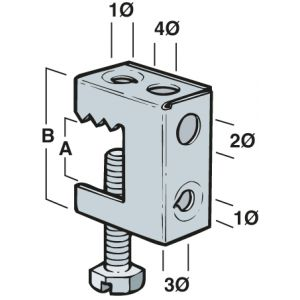 Beam Clamp - 2 - 17mm x 35mm (Qty 25) - Silver