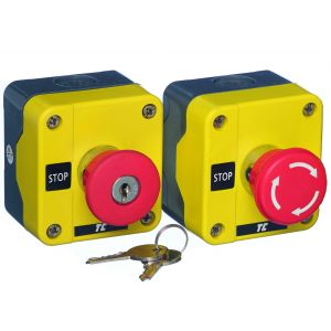 Plastic Push Button Stations - One Position Emergency Stops - Key release 40mm red 1N/C