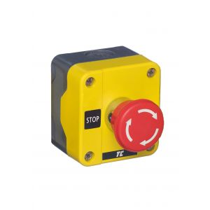 Plastic Push Button Stations - One Position Emergency Stops - Twist release 40mm red 1N/C