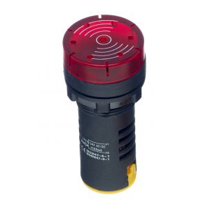 22mm LED Pilot Lamps with Sounder - Red 24V AC/DC LED buzzer
