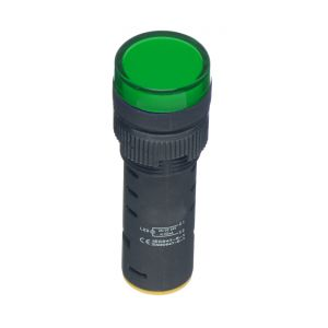 22mm LED Pilot Lamps - 230V AC green