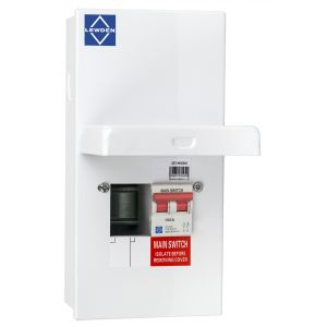 Economy Consumer Unit - 100A Mains Switch 2 Way Metal Board