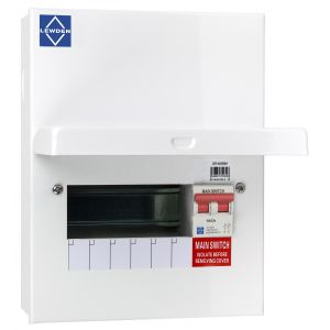 Economy Consumer Unit - 100A Mains Switch 6 Way Metal Board