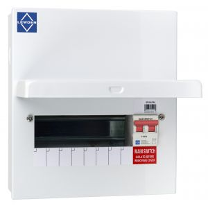 Economy Consumer Unit - 100A Mains Switch 8 Way Metal Board