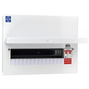Economy Consumer Unit - 100A Mains Switch 14 Way Metal Board