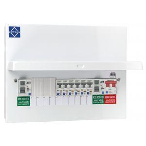 Economy Consumer Unit - 10 Way Populated Dual RCCB Board