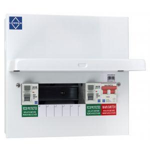 Economy Consumer Unit - 6 Way Semi-Populated Dual RCCB Board
