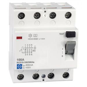 Economy RCD - 4 pole 100A 300mA, 10kA