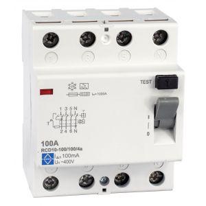 Economy RCD - 4 pole 100A 100mA, 10kA
