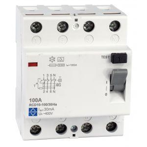 Economy RCD - 4 pole 100A 30mA, 10kA