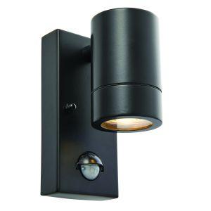 Black Outdoor PIR Wall Light GU10