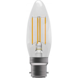 4W LED Filament Candle - Non-Dimmable - BC/B22 2700K, 15,000 hrs, 470 lumens - Clear Candle